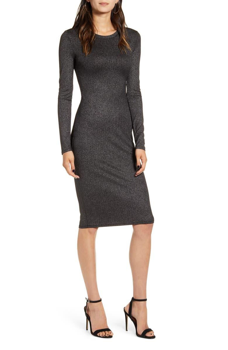 CHELSEA28 Metallic Long Sleeve Sheath Dress, Main, color, BLACK- SILVER SMOKED FOIL