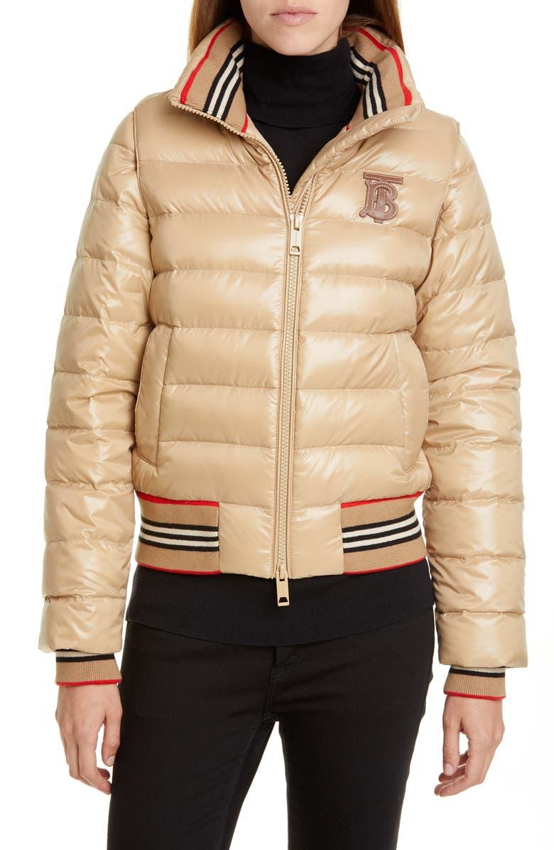 BURBERRY Hessle Detachable Sleeve Icon Stripe Down Puffer Jacket, Main, color, 250