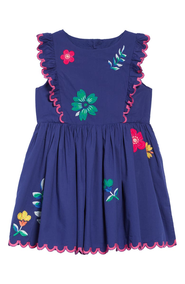 MINI BODEN Scallop Embroidered Shift Dress, Main, color, 404