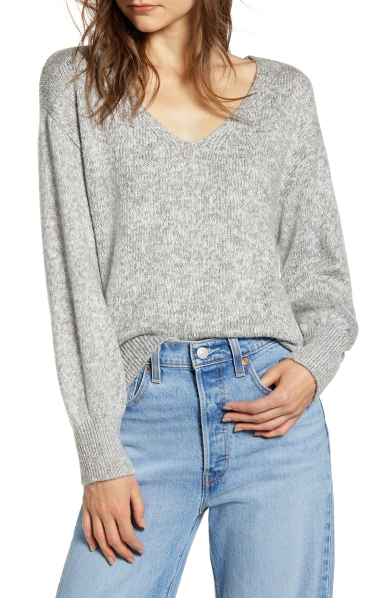 BP. Everyday V-Neck Sweater, Main, color, GREY MEDIUM HEATHER MARL