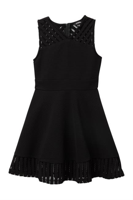 Image of Zunie Sleeveless Fishnet Trim Dress