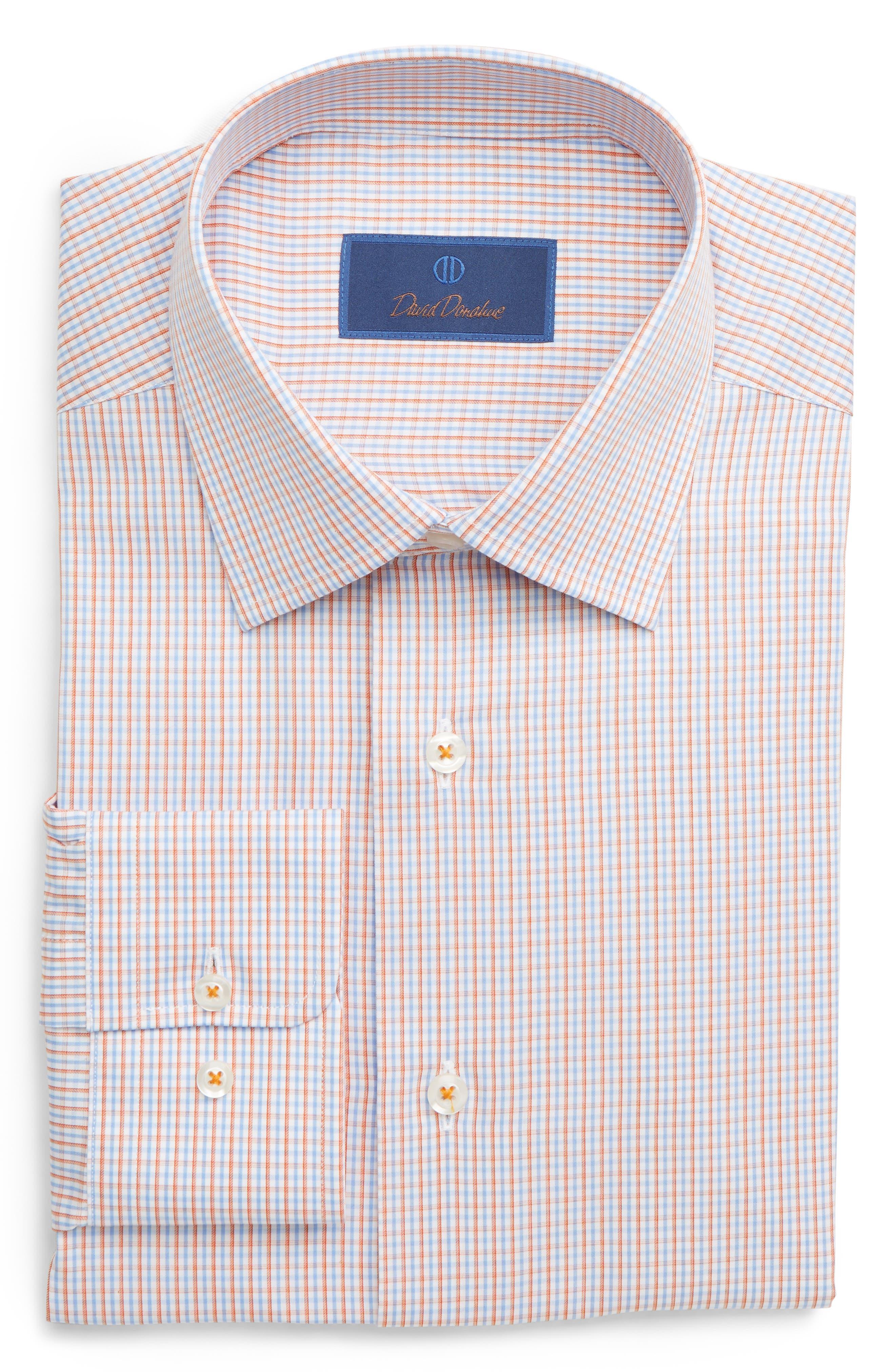 ,                             Regular Fit Check Dress Shirt,                             Main thumbnail 1, color,                             MELON
