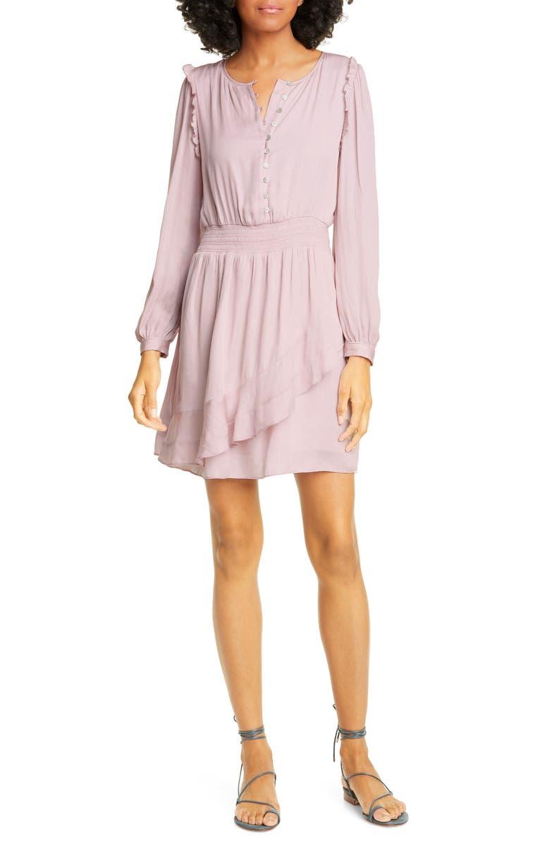 DOLAN Christine Long Sleeve Smocked Waist Minidress, Main, color, LILAC
