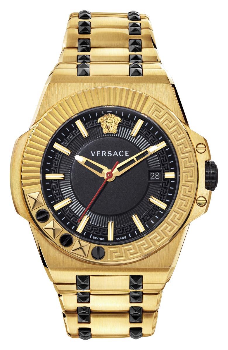 VERSACE Chain Reaction Bracelet Watch, 45mm, Main, color, GOLD/ BLACK/ GOLD