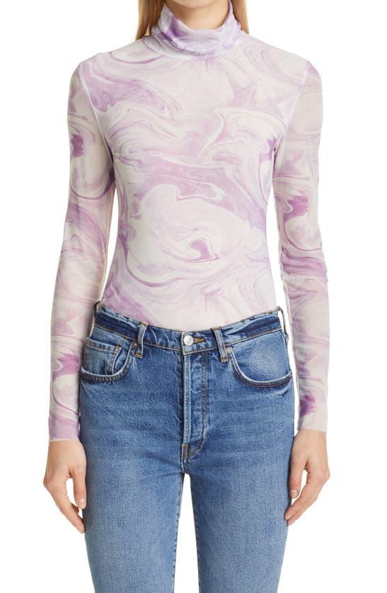 Ganni Clothing SWIRL PRINT MESH TURTLENECK TOP