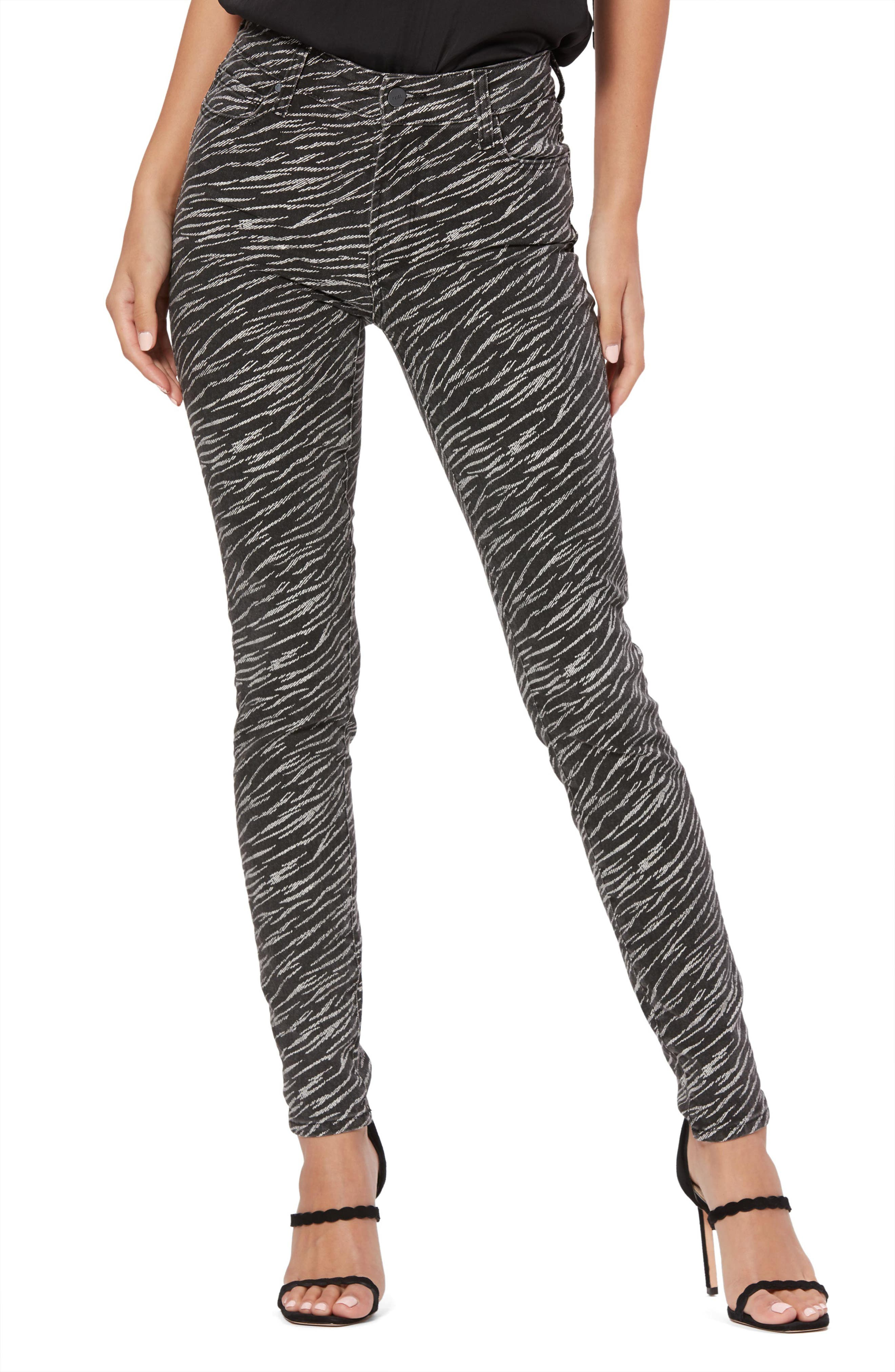 Image of PAIGE Hoxton Zebra Stripe High Waist Ultra Skinny Jeans