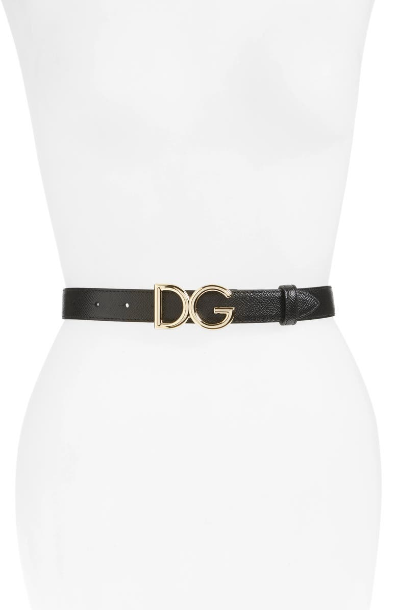DOLCE&GABBANA Leather Belt, Main, color, NERO