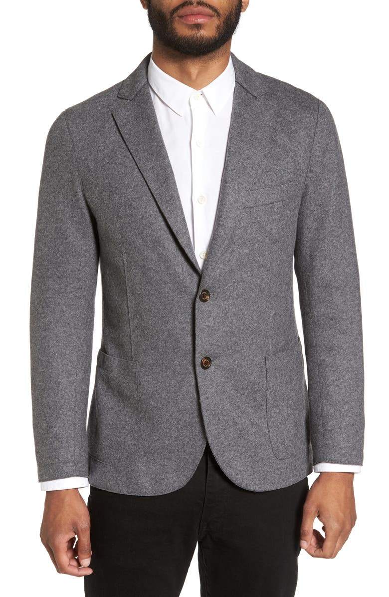 ELEVENTY Slim Fit Wool Blend Sport Coat, Main, color, SMOKE GREY MELANGE