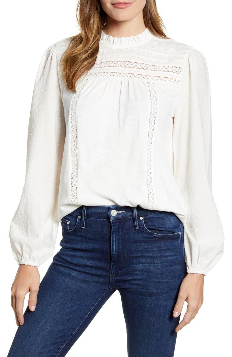 CASLON<SUP>®</SUP> Pintuck Lace Detail Long Sleeve Cotton Blouse, Main, color, IVORY CLOUD