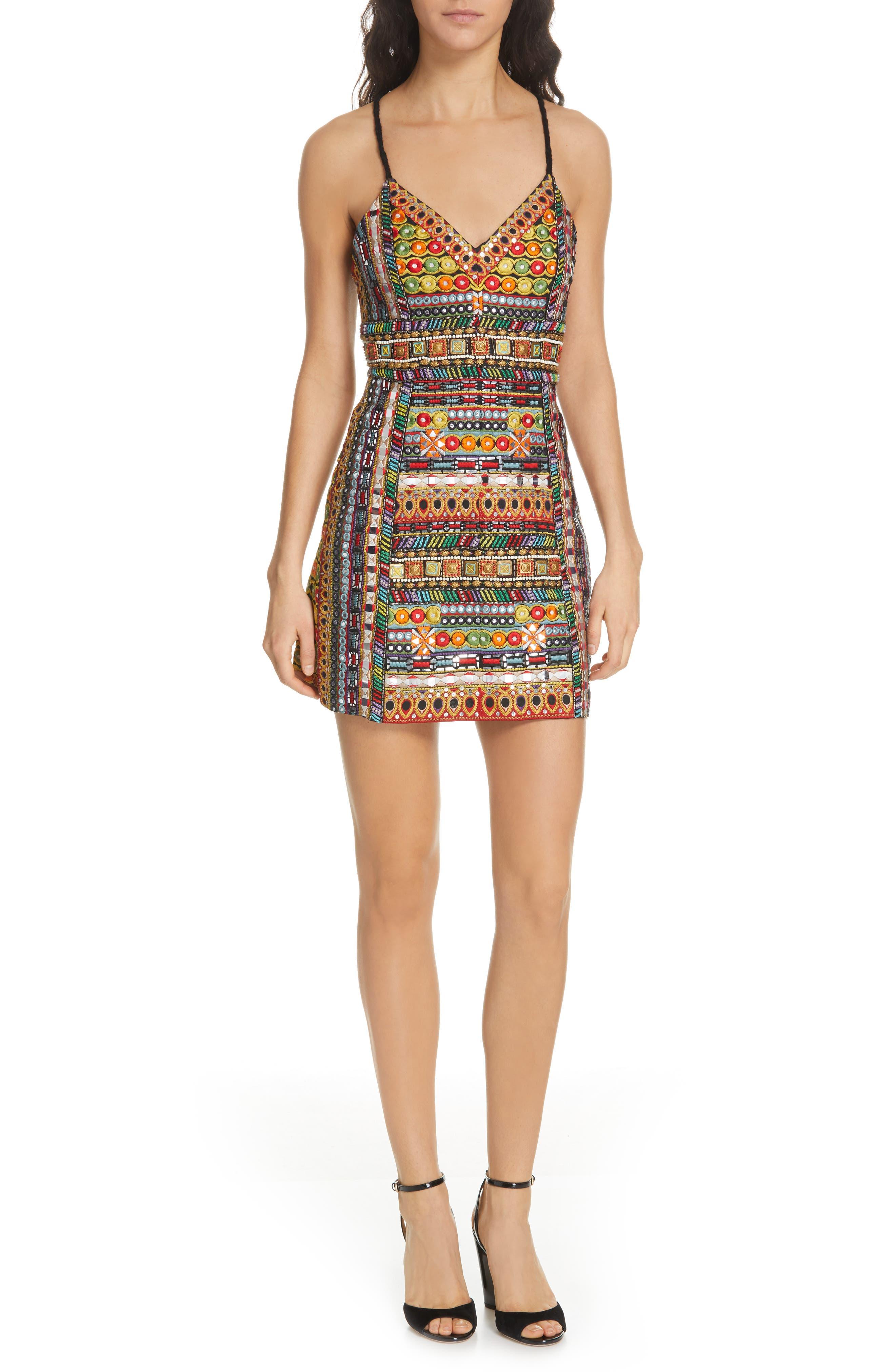 Tayla Embroidered Minidress, Main, color, MULTI