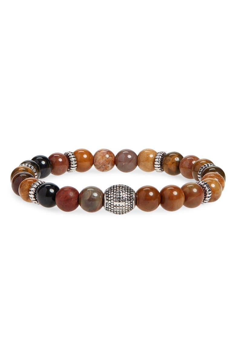 NORDSTROM MEN'S SHOP Stone Bead Bracelet, Main, color, TAN/ BROWN