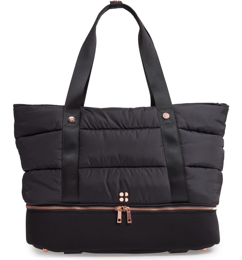 SWEATY BETTY Luxe Gym Bag, Main, color, BLACK