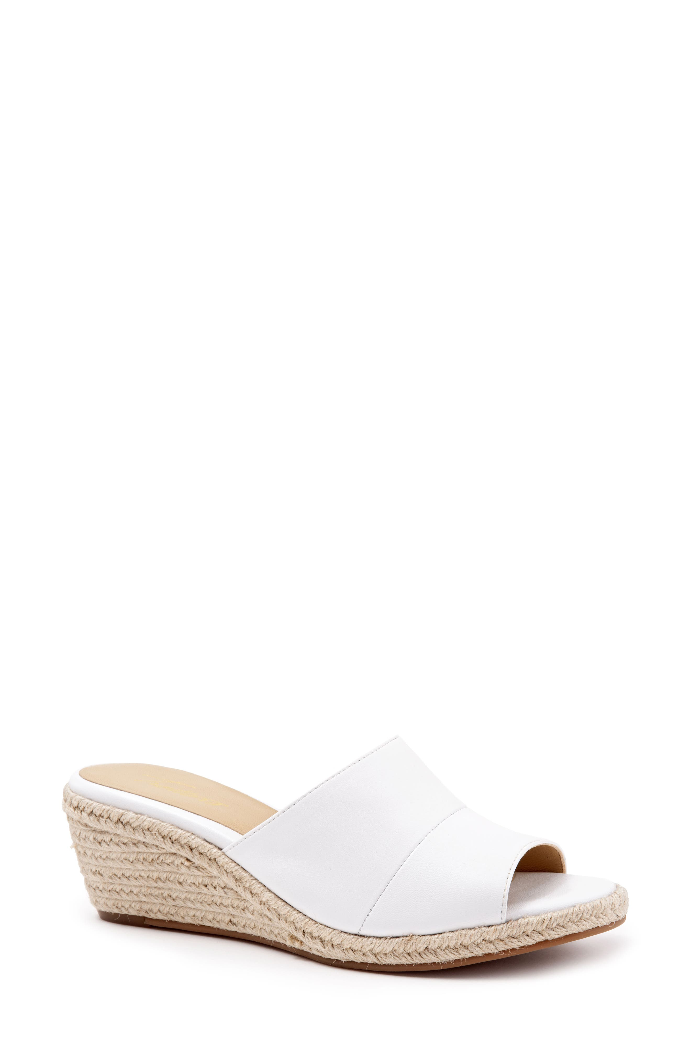 ,                             Colony Wedge Slide Sandal,                             Main thumbnail 1, color,                             WHITE LEATHER