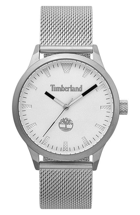 Timberland Men's Stainless Steel Mesh Bracelet Watch 40mm In Sliver