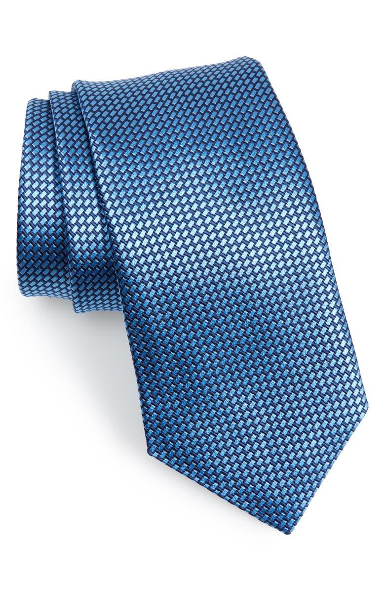 DAVID DONAHUE Basketweave Silk Tie, Main, color, BLUE
