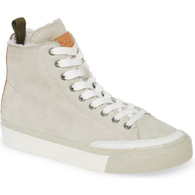 Rag & Bone High Top Sneaker With Genuine Shearling Lining - White