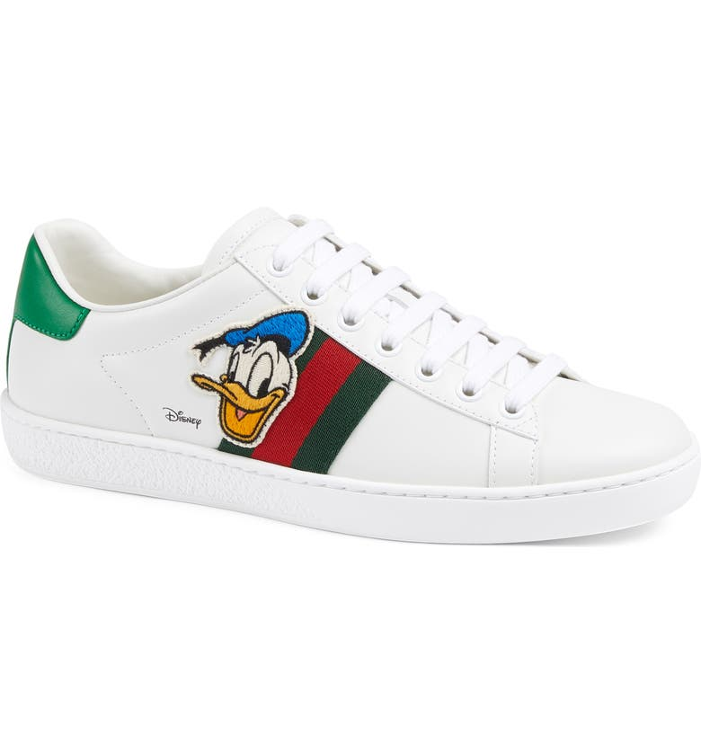 GUCCI x Disney Ace Donald Duck Low Top Sneaker, Main, color, WHITE/ GREEN/ RED