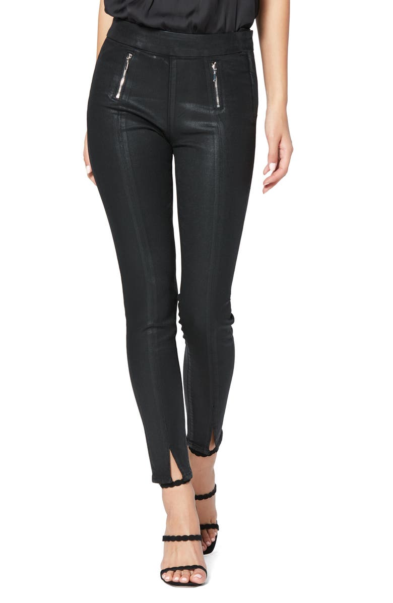 PAIGE Transcend Talita High Waist Crop Skinny Jeans, Main, color, BLACK FOG LUXE COATED