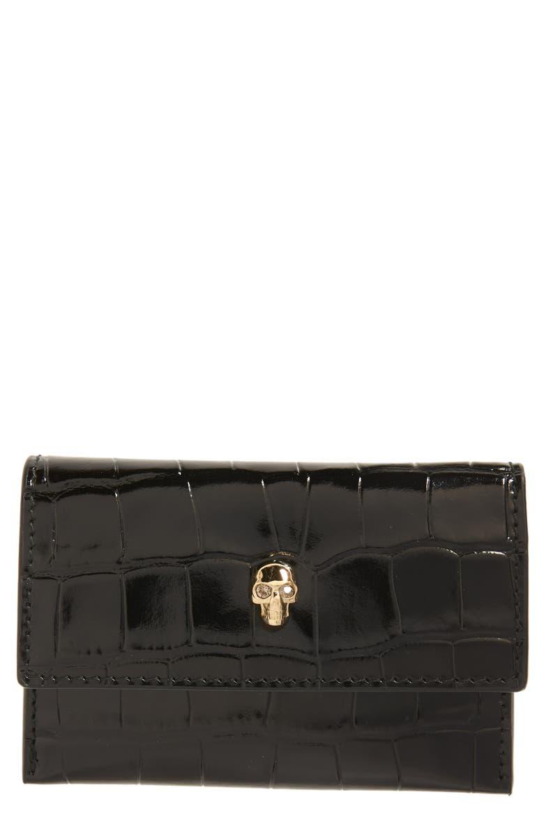 ALEXANDER MCQUEEN Croc Embossed Leather Card Holder, Main, color, BLACK