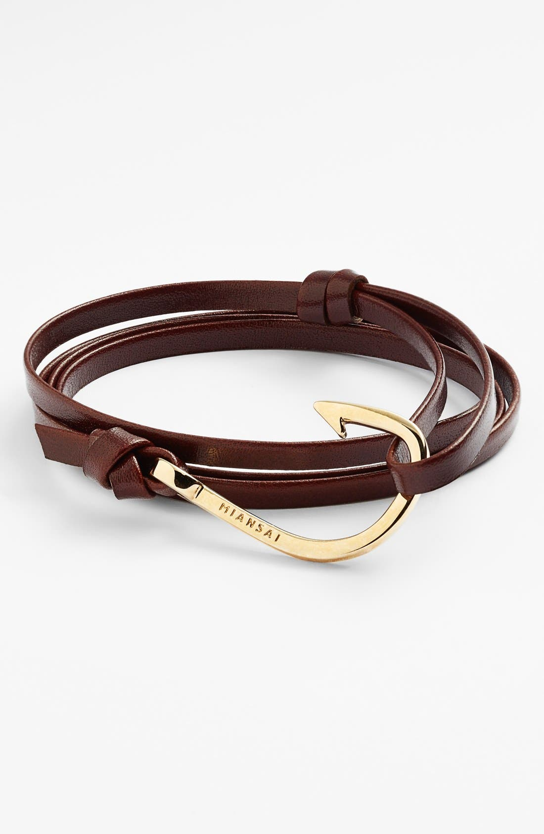 ,                             Gold Hook Leather Bracelet,                             Main thumbnail 9, color,                             201