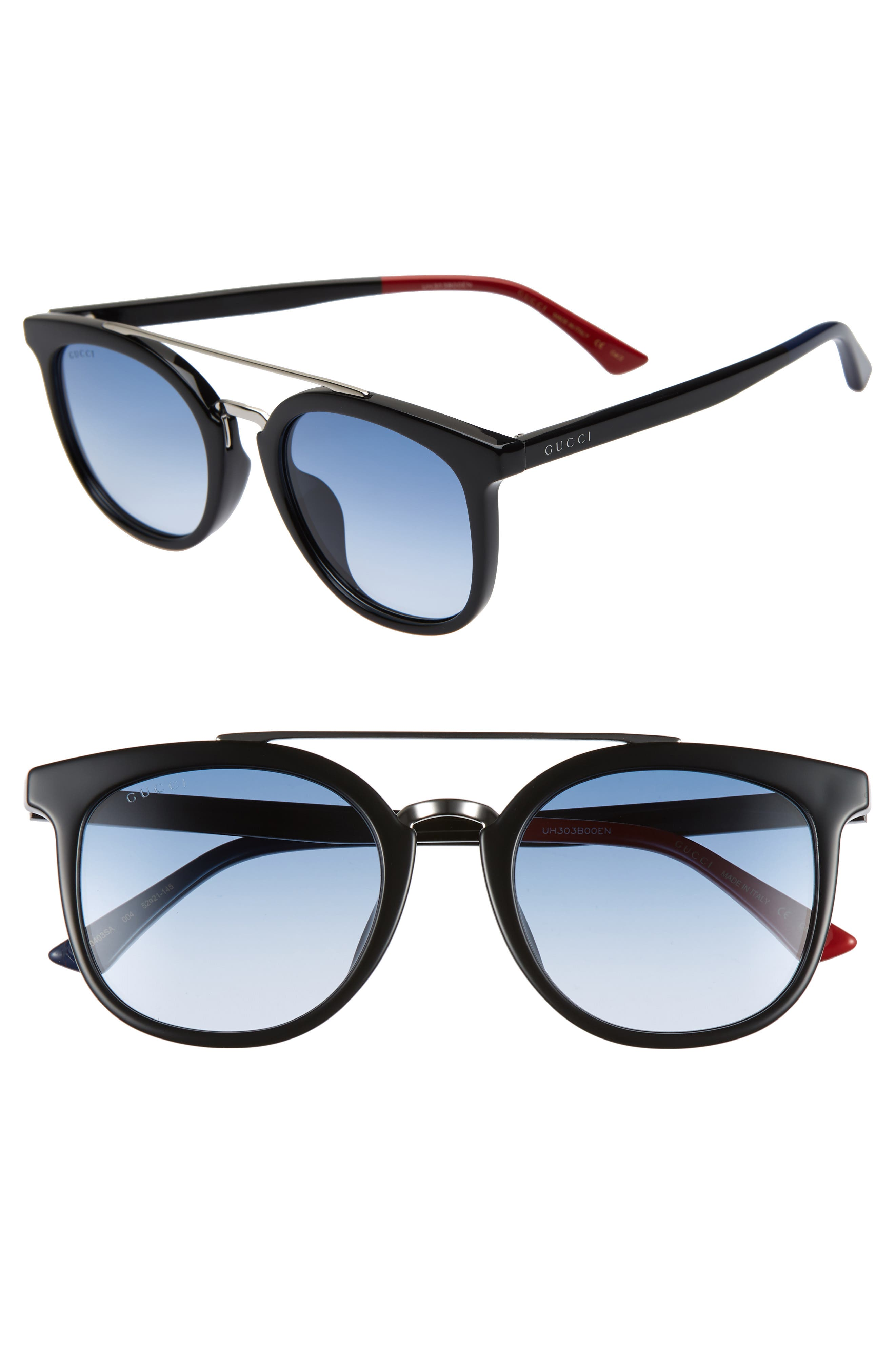 52mm Round Sunglasses, Main, color, BLACK/ BLUE