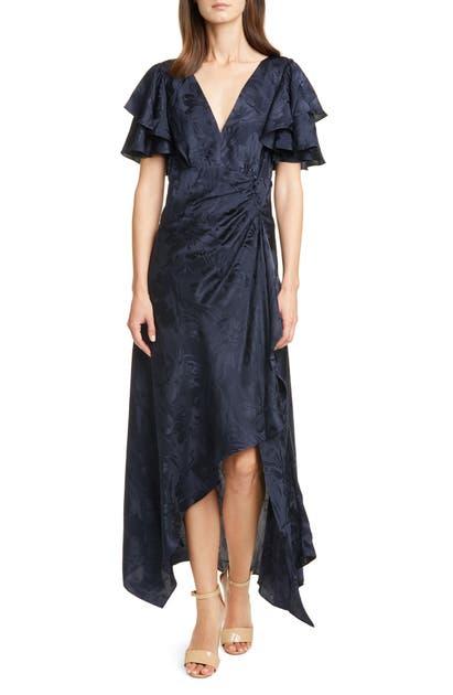 Tanya Taylor Dresses CLEMENTINE RUFFLE SLEEVE SILK MAXI DRESS