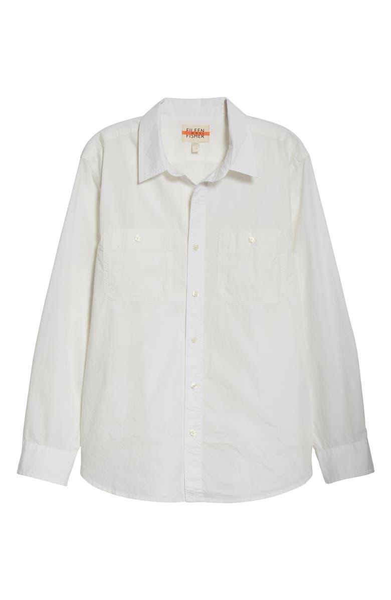 EILEEN FISHER Organic Cotton Poplin Button-Up Shirt, Main, color, 100
