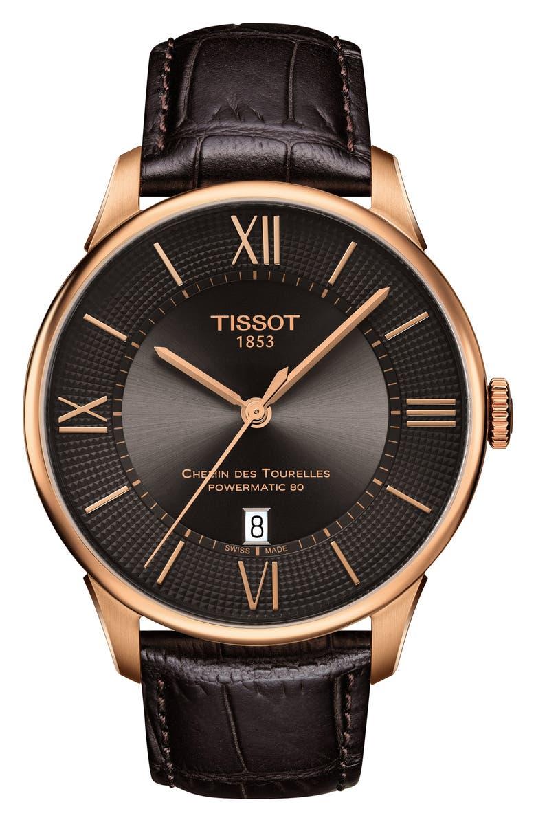 TISSOT Chemin des Tourelles Powermatic 80 Watch, 42mm, Main, color, 200