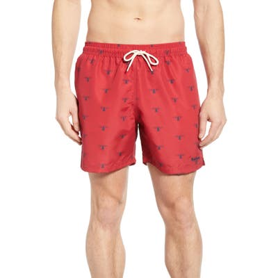 Barbour Coastal Print Swim Trunks, Red