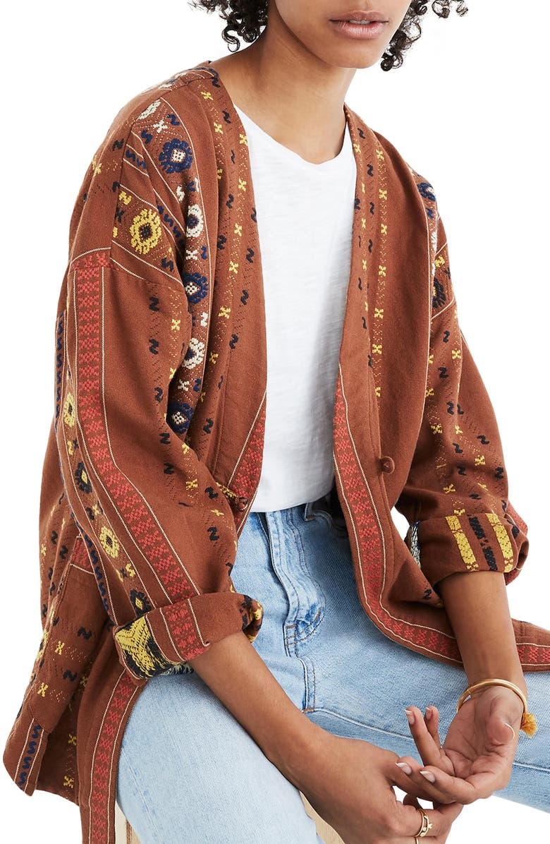 MADEWELL Kimono Shirttail Jacket, Main, color, 200
