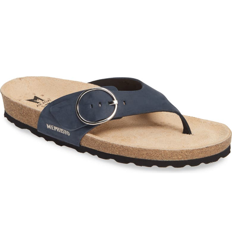 MEPHISTO Natalina Slide Flip Flop, Main, color, NAVY LEATHER