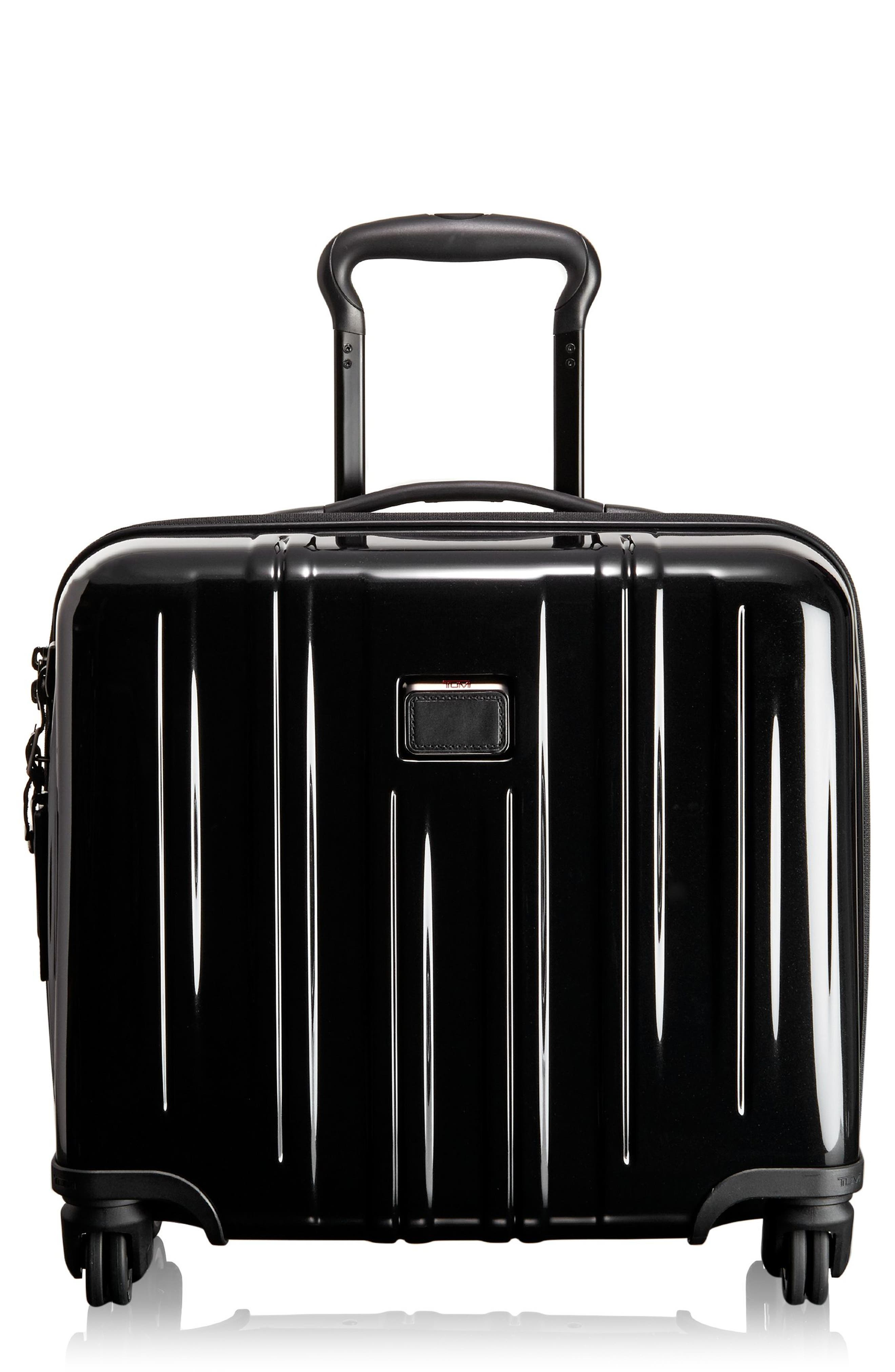V3 Compact Carry-On Spinner Briefcase, Main, color, BLACK