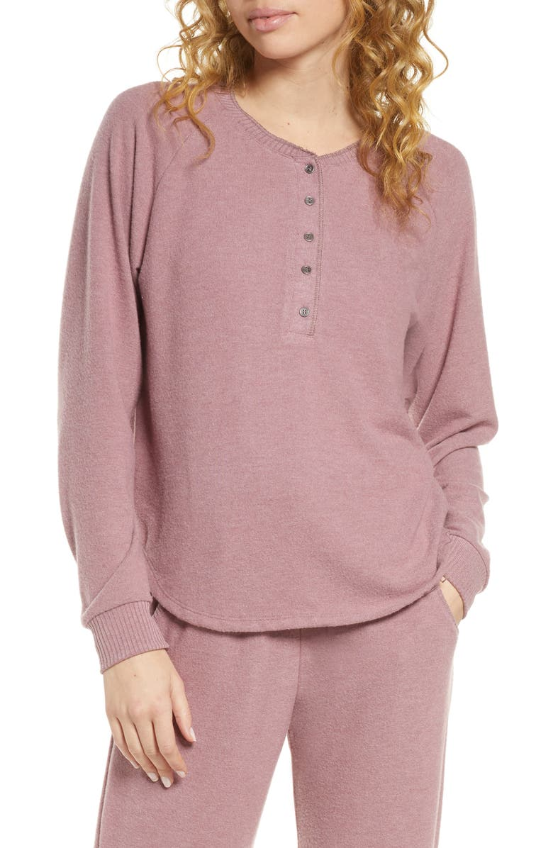 PROJECT SOCIAL T Lounge Henley Top, Main, color, DK LAVENDER