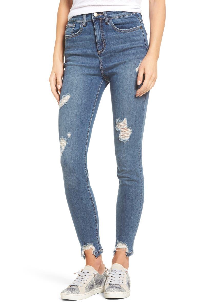 SP BLACK High Waist Step Hem Skinny Jeans, Main, color, 420