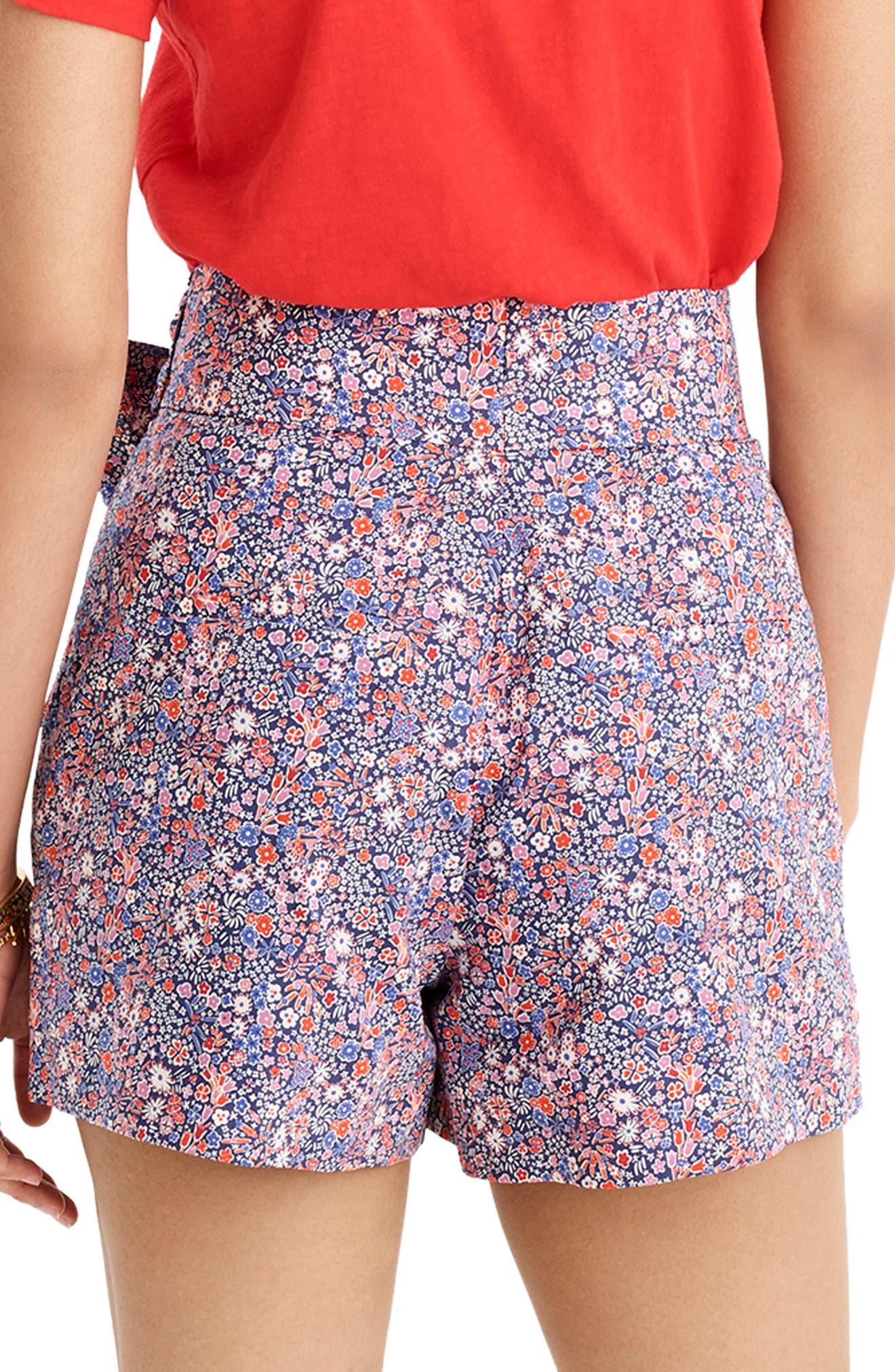 ,                             Liberty<sup>®</sup> Tana Lawn Tie Waist Shorts,                             Alternate thumbnail 2, color,                             DEEP BLUE MULTI