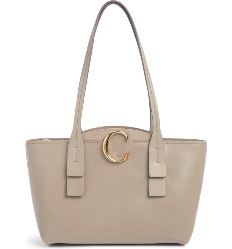 CHLOÉ Small C Leather Tote, Main, color, MOTTY GREY