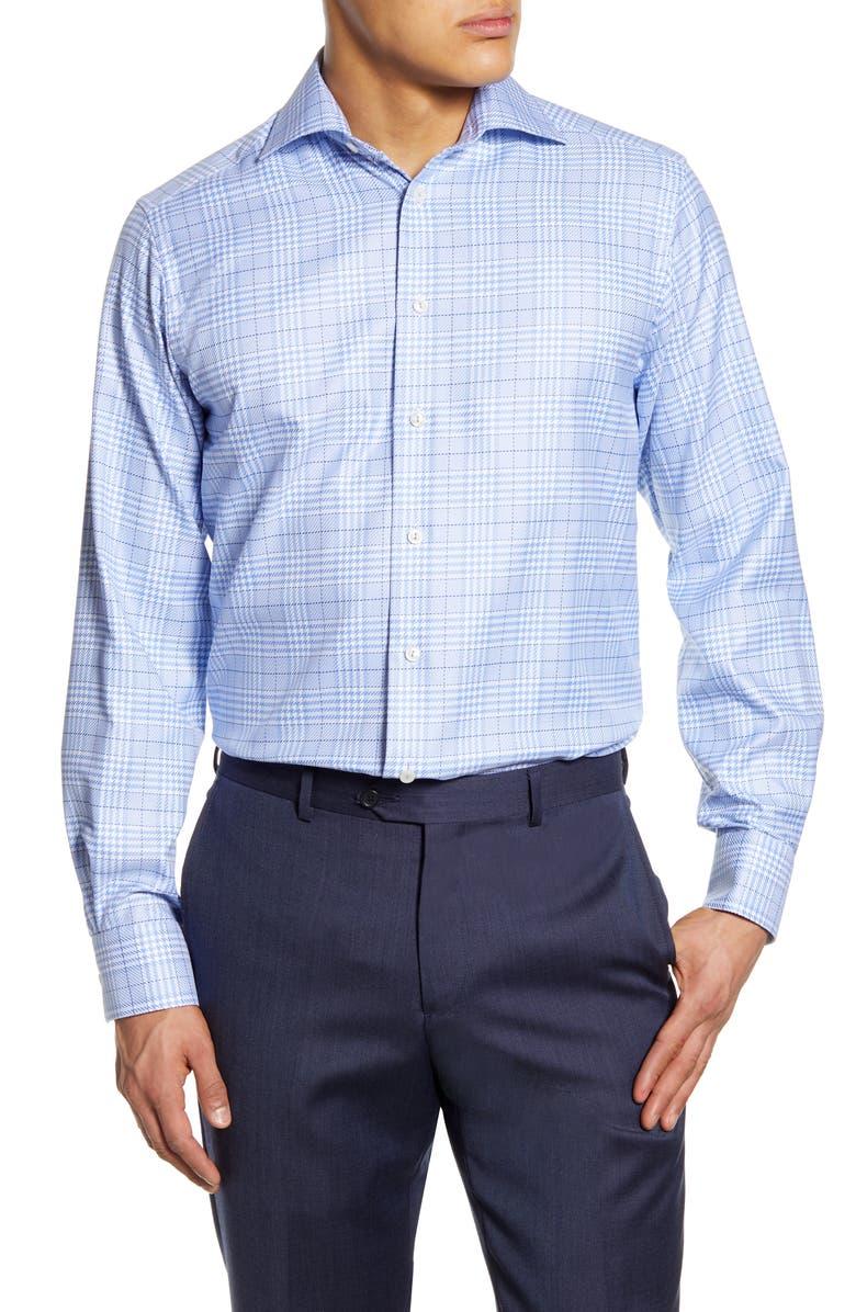 ETON Contemporary Fit Plaid Dress Shirt, Main, color, BLUE