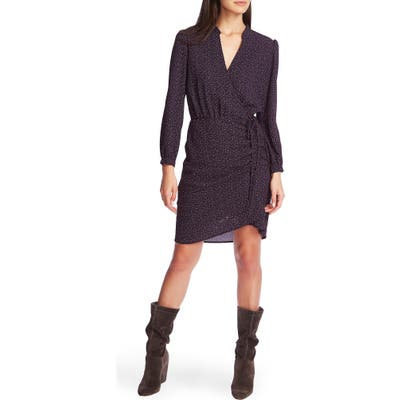 1.state Long Sleeve Speckle Print Dress, Blue