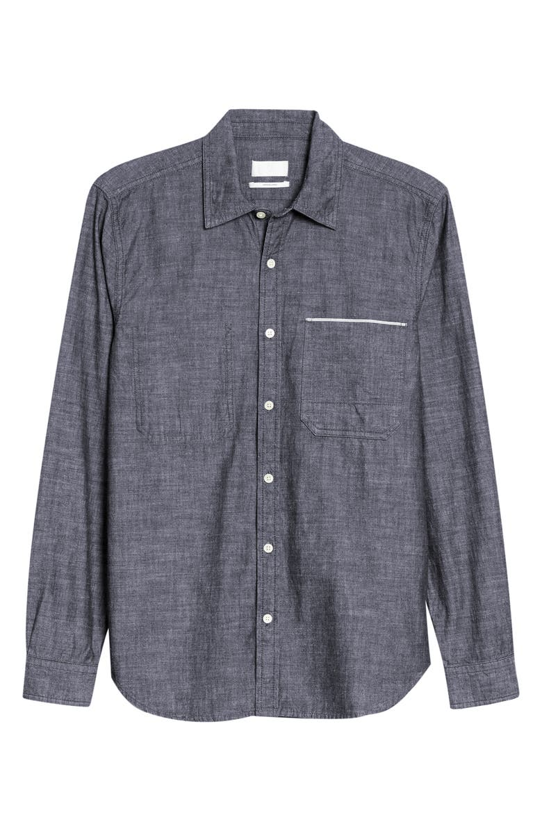 7 FOR ALL MANKIND<SUP>®</SUP> Slim Fit Hidden Pocket Selvedge Button-Up Chambray Shirt, Main, color, CHAMBRAY