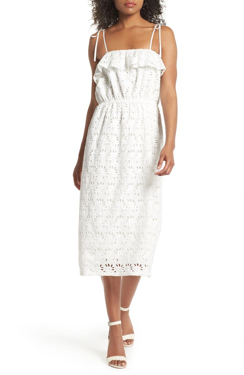 FIRST MONDAY Ruffle Broderie Anglaise Sundress, Main, color, 100