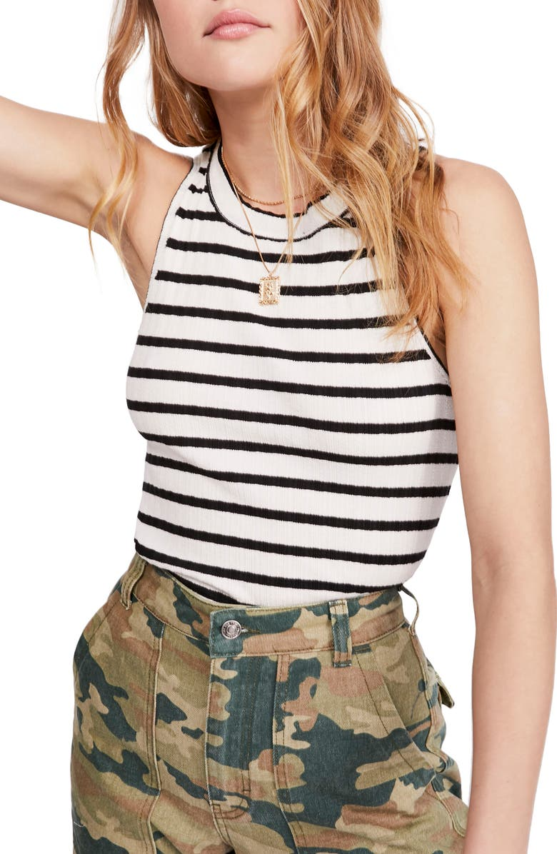 FREE PEOPLE Fired Up Stripe Tank, Main, color, BLACK