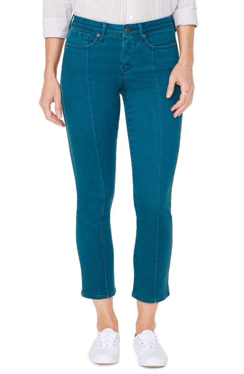NYDJ Sheri Pintucked Stretch Ankle Jeans, Main, color, BLUEBERRY FIELDS