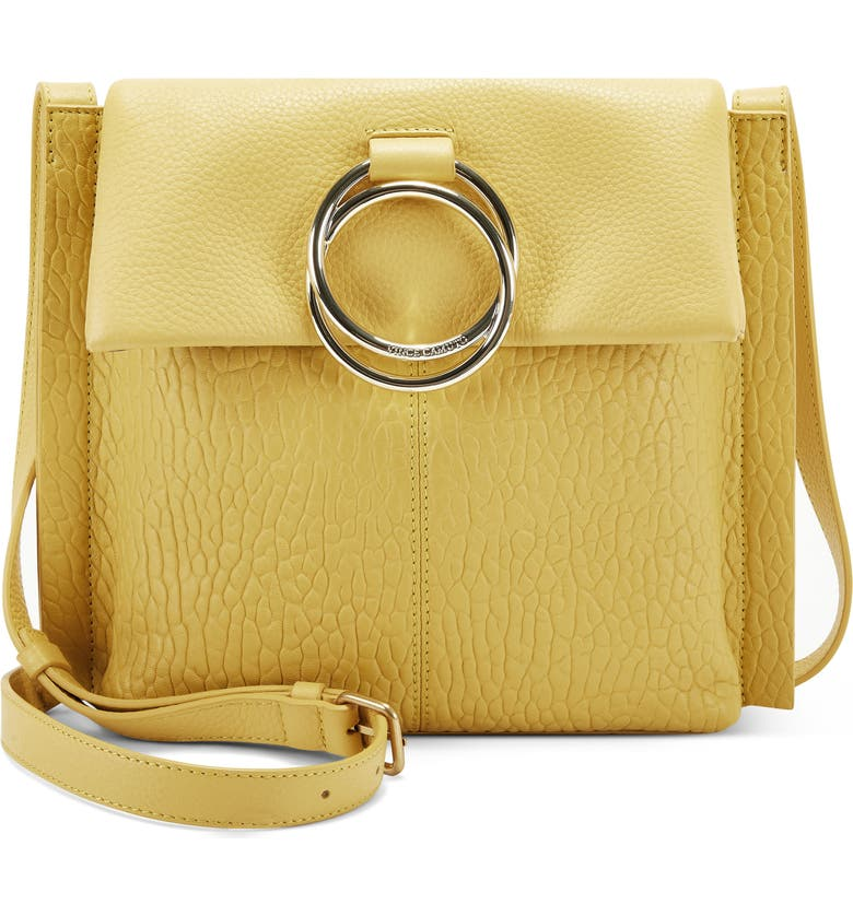 VINCE CAMUTO Livy Large Leather Crossbody Bag, Main, color, BUTTER OCHRE