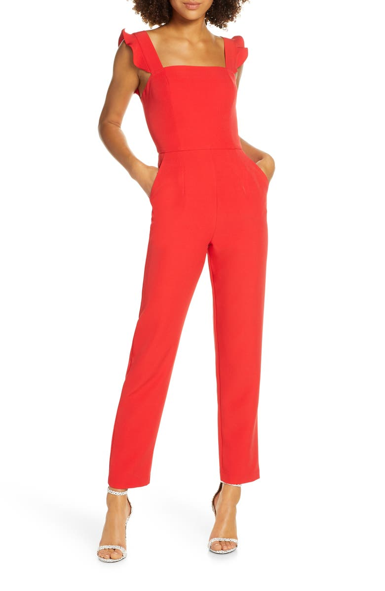 CHARLES HENRY Ruffle Strap Jumpsuit, Main, color, CHERRY