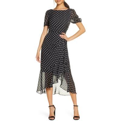 Julia Jordan Dot Print Chiffon Dress, Black