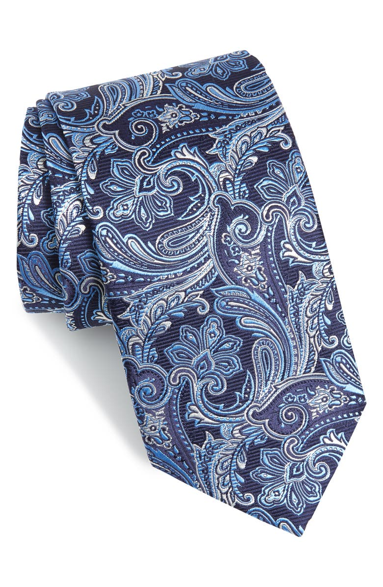 ETON Paisley Silk Tie, Main, color, 400