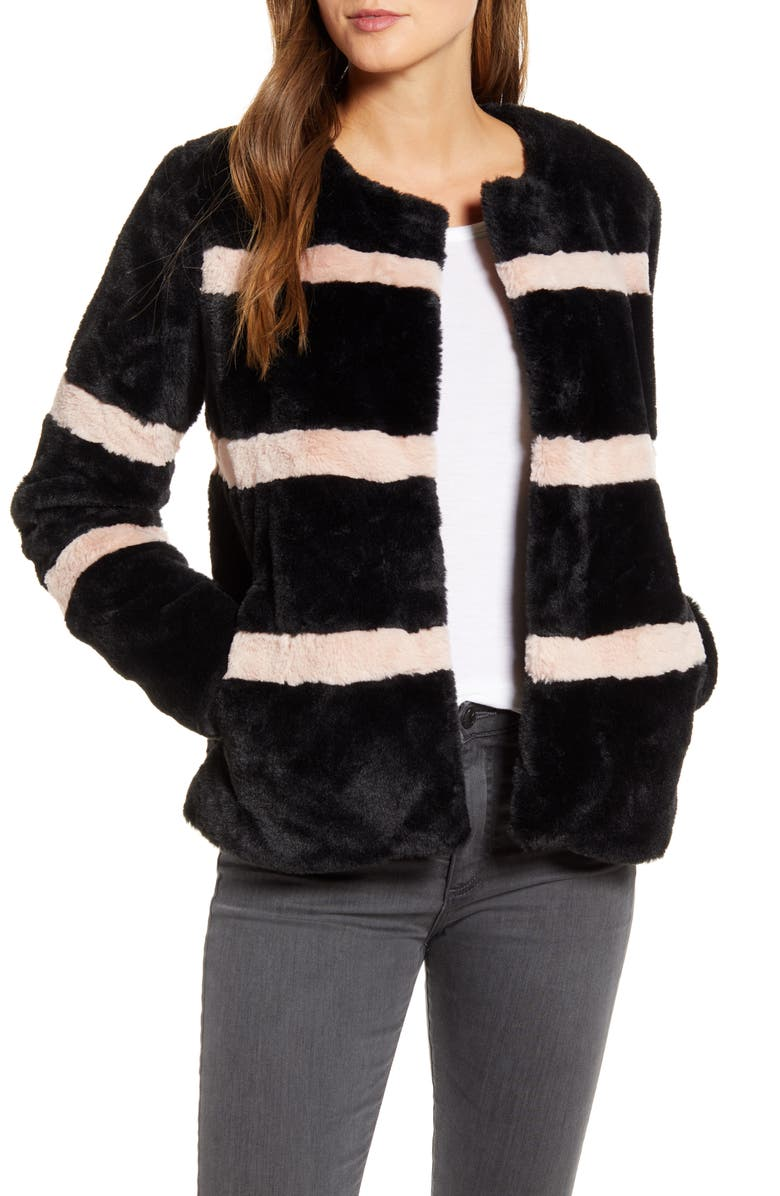 RACHEL PARCELL Stripe Faux Fur Coat, Main, color, BLACK- PINK SMOKE