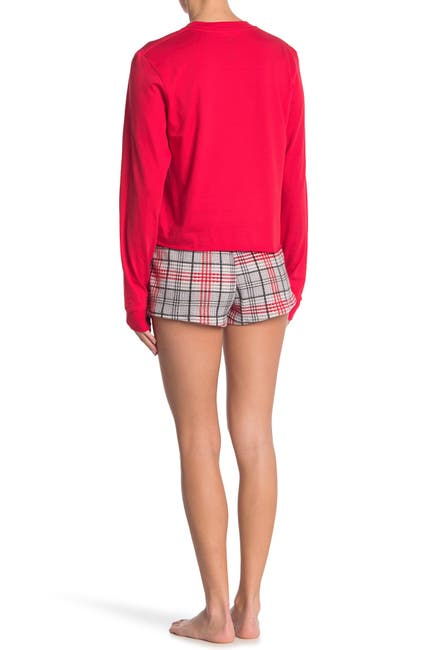 Image of COZY ROZY Long Sleeve Cropped Tee & Plaid Shorts Set