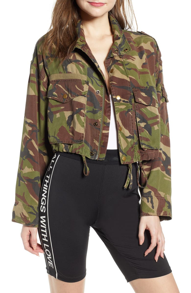 PAM & GELA Crop Camo Cargo Jacket, Main, color, 371