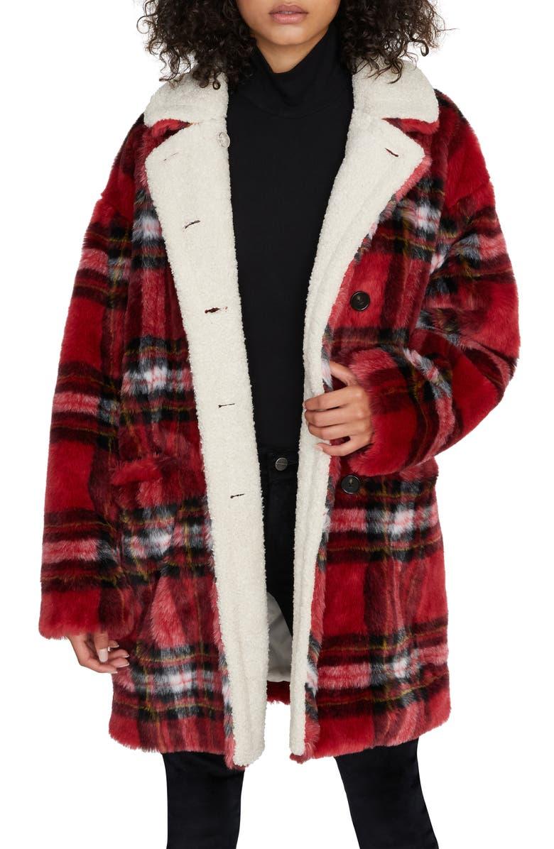SANCTUARY Sierra Print Faux Fur Coat with Fleece Lining, Main, color, PARTY PLAID / SHERPA
